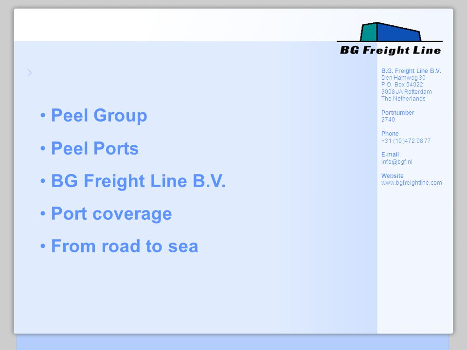 Peel Group Peel Ports BG Freight Line B.V. Port coverage