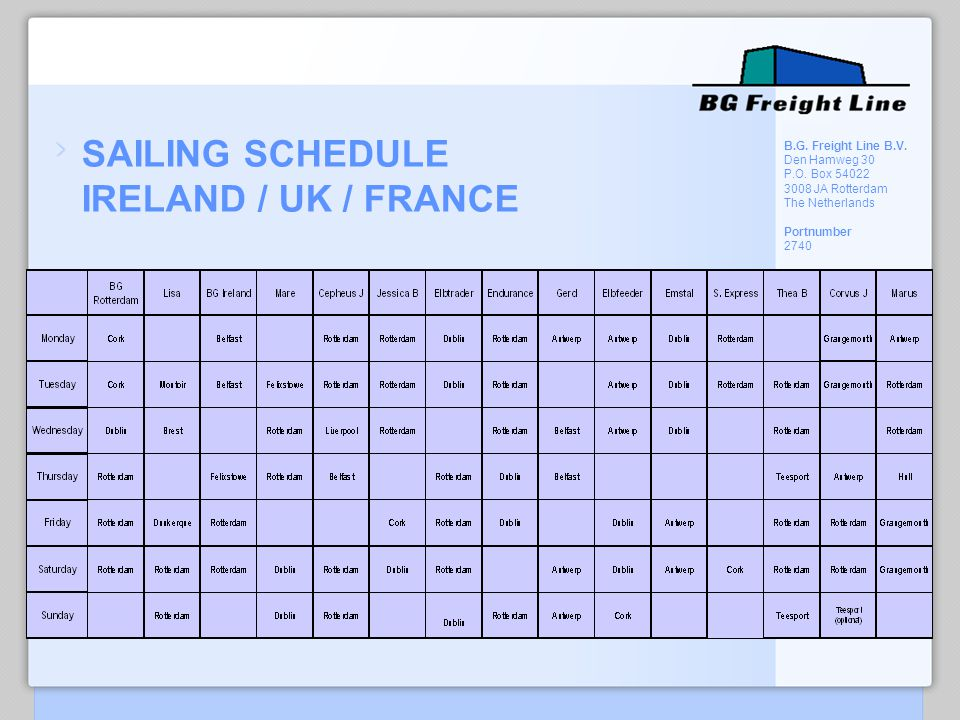 SAILING SCHEDULE IRELAND / UK / FRANCE