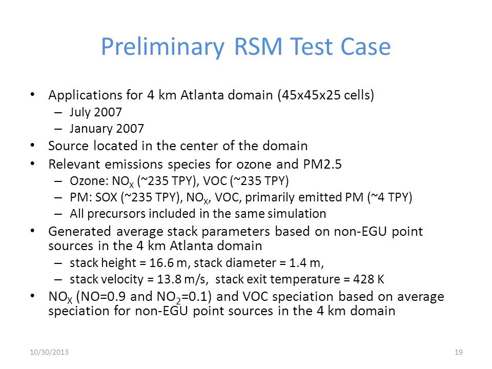 Preliminary RSM Test Case