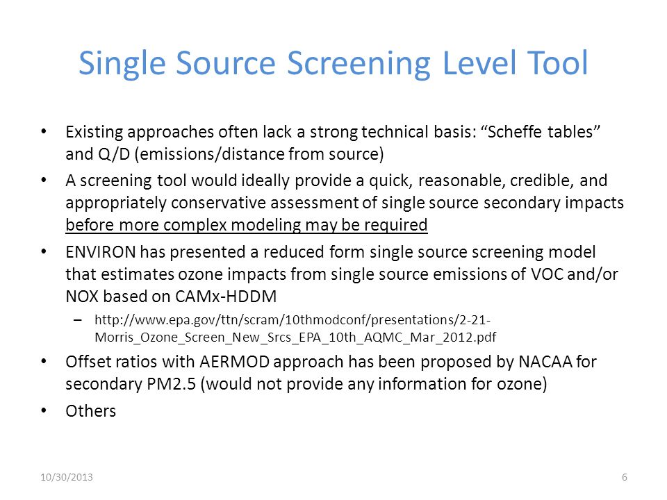 Single Source Screening Level Tool