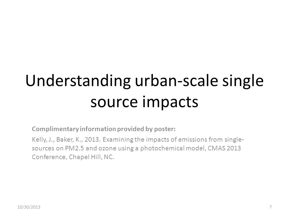 Understanding urban-scale single source impacts