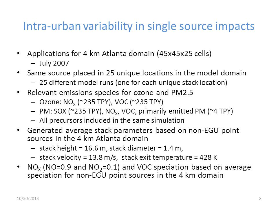 Intra-urban variability in single source impacts
