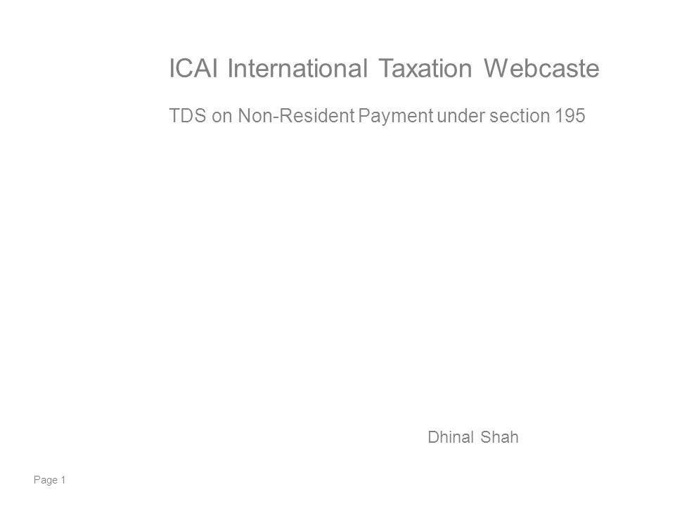 ICAI International Taxation Webcaste