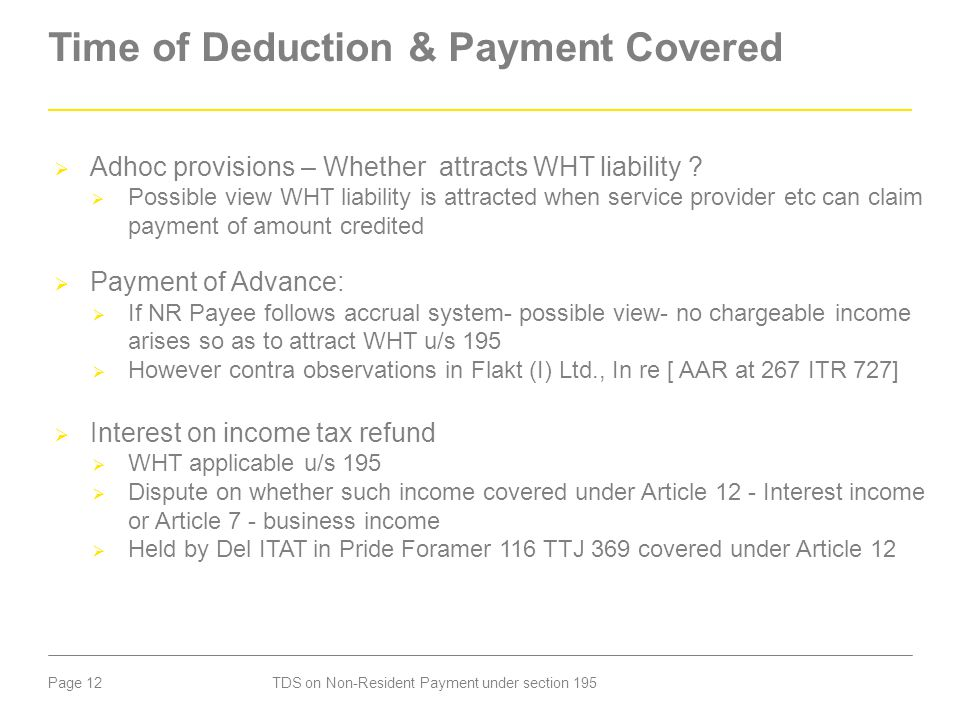 Time of Deduction & Payment Covered
