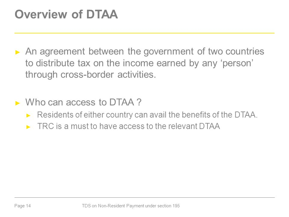Overview of DTAA