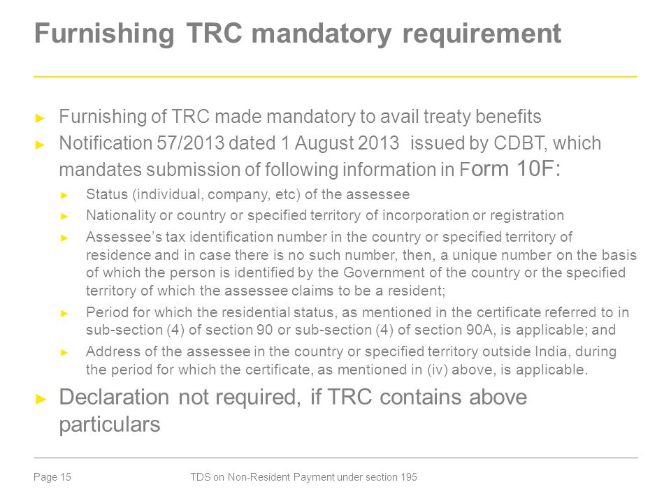Furnishing TRC mandatory requirement