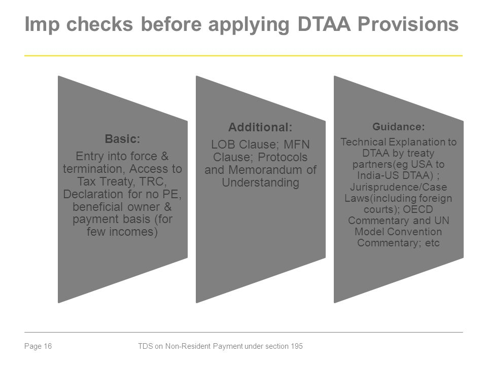Imp checks before applying DTAA Provisions