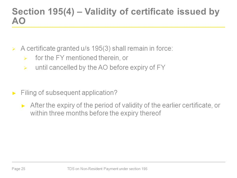Section 195(4) – Validity of certificate issued by AO
