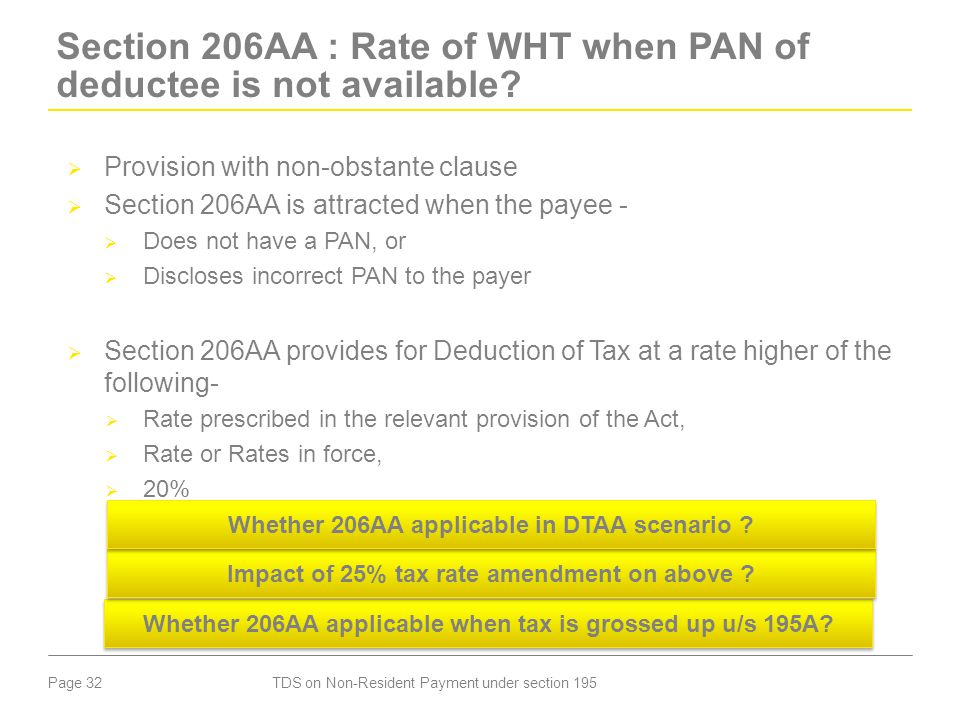 Section 206AA : Rate of WHT when PAN of deductee is not available