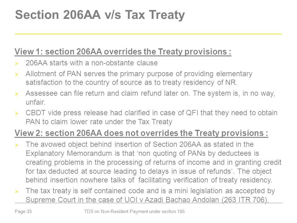 Section 206AA v/s Tax Treaty