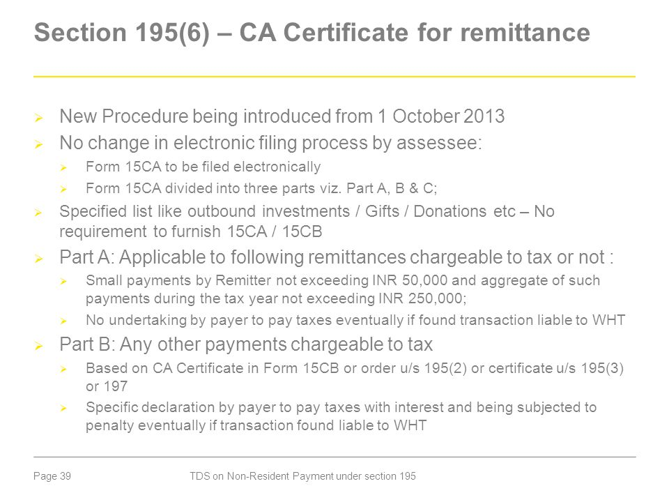 Section 195(6) – CA Certificate for remittance