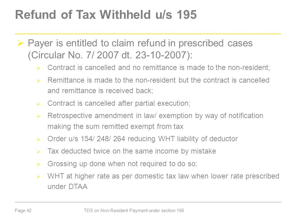 Refund of Tax Withheld u/s 195