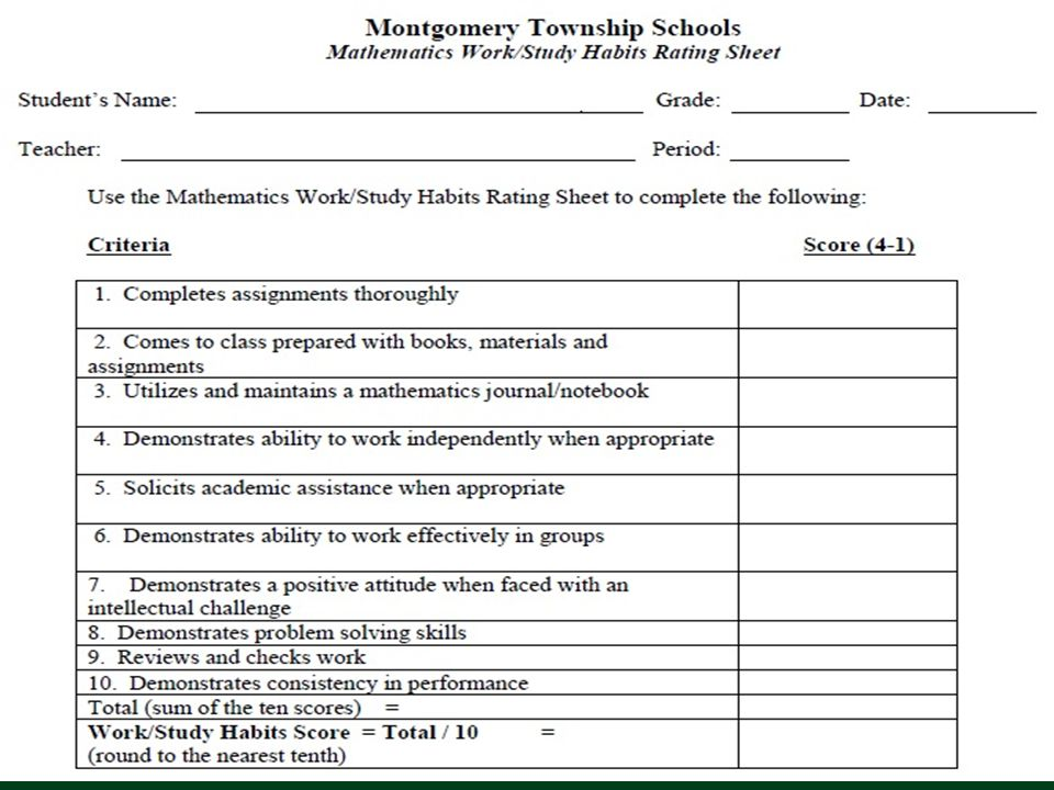 Work Habits/Study Skills Rating sheet is completed by the teacher for each student.