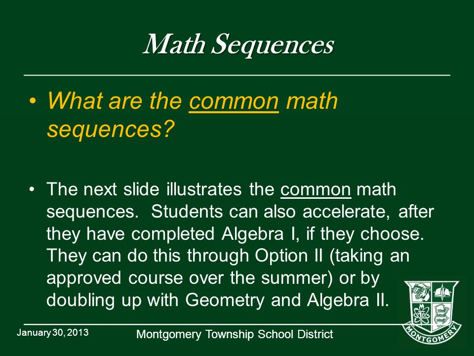 Math Sequences What are the common math sequences