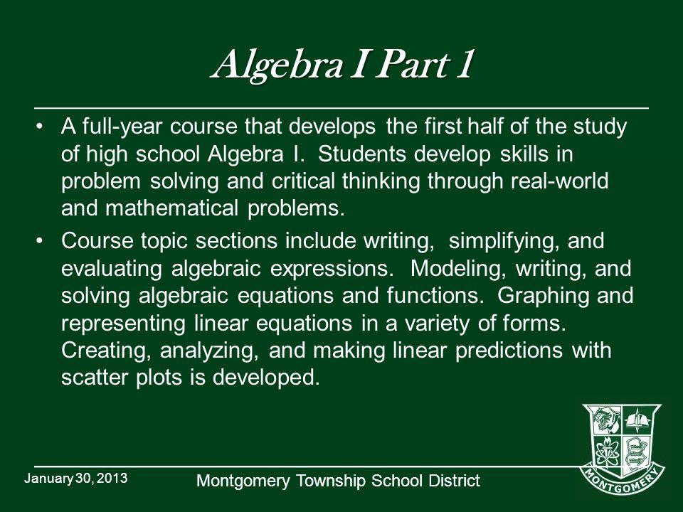 Algebra I Part 1