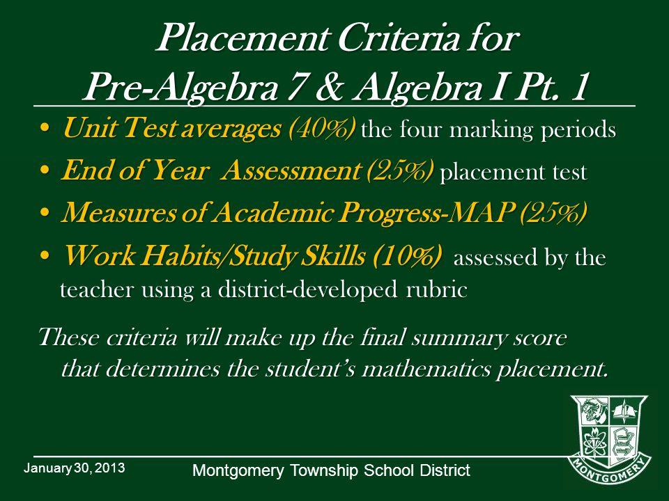 Placement Criteria for Pre-Algebra 7 & Algebra I Pt. 1