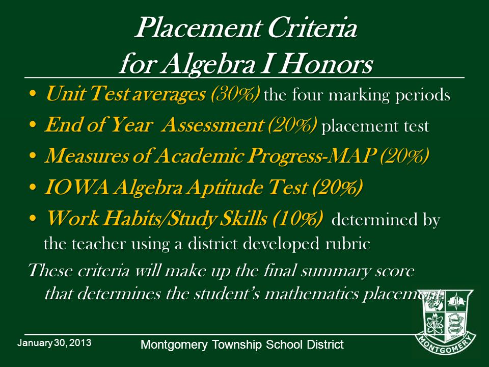 Placement Criteria for Algebra I Honors