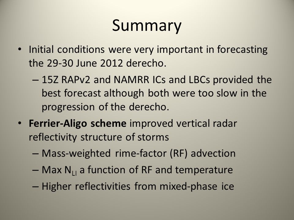 Summary Initial conditions were very important in forecasting the 29-30 June 2012 derecho.