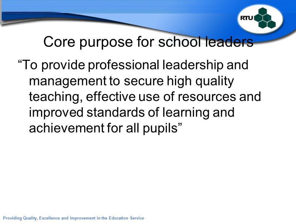 Core purpose for school leaders