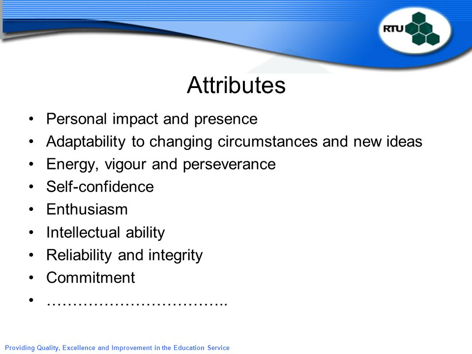Attributes Personal impact and presence