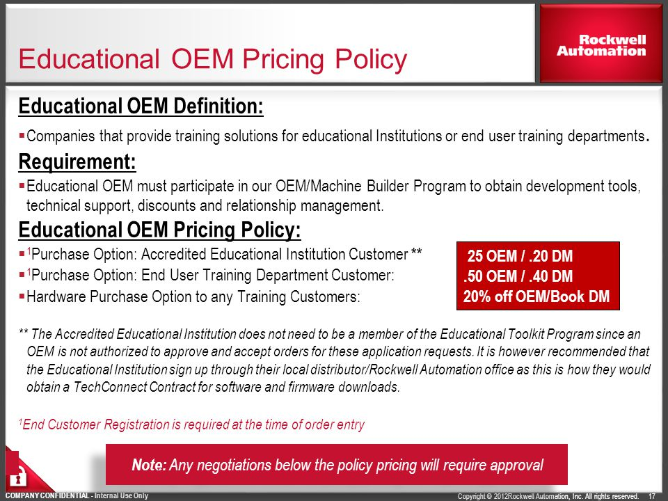 Educational OEM Pricing Policy