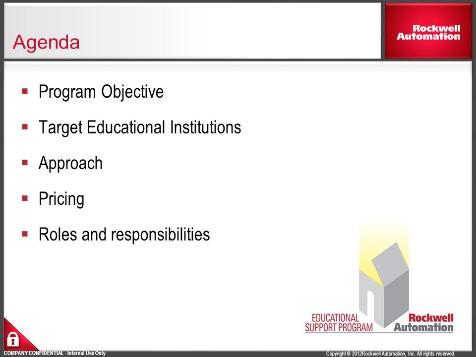 Agenda Program Objective Target Educational Institutions Approach