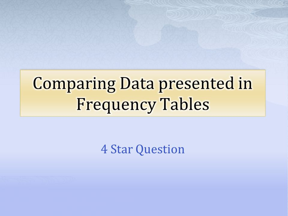 Comparing Data presented in Frequency Tables