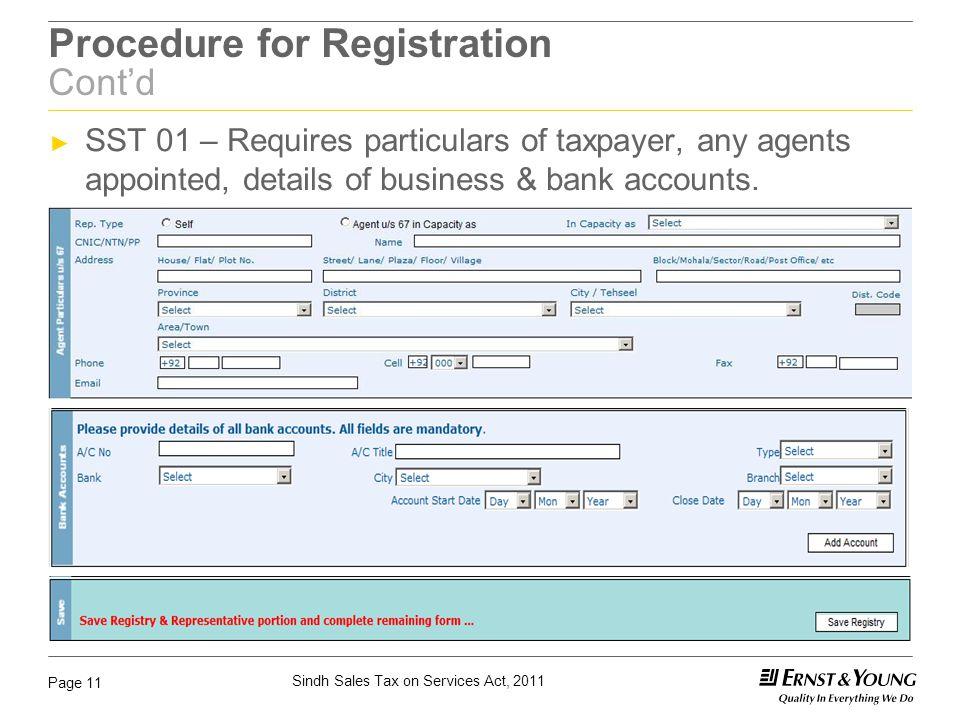 Procedure for Registration Cont'd