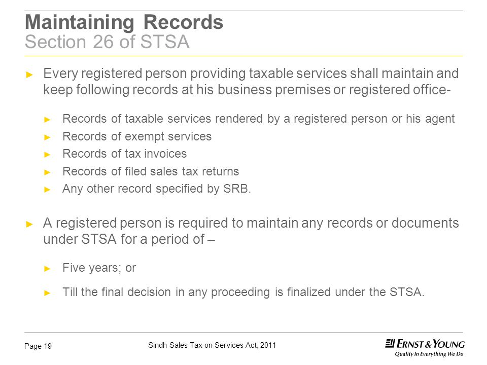 Maintaining Records Section 26 of STSA