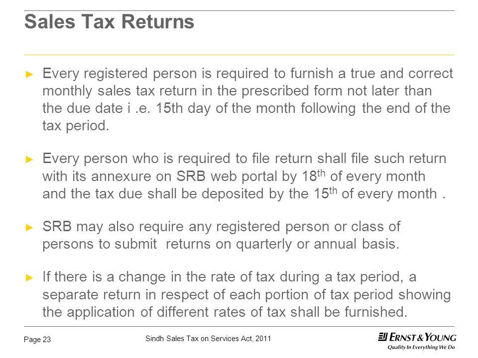 Sales Tax Returns