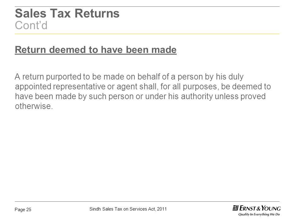 Sales Tax Returns Cont'd
