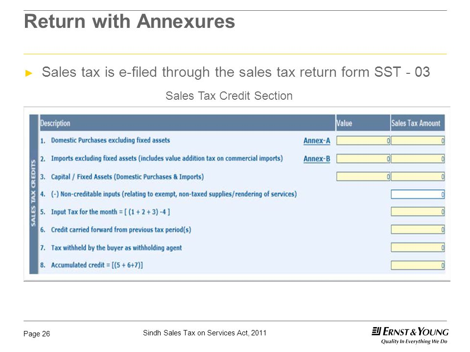 Return with Annexures Sales tax is e-filed through the sales tax return form SST - 03.