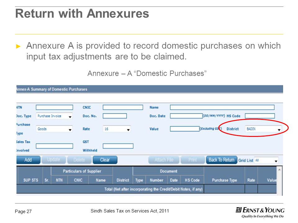 Return with Annexures Annexure A is provided to record domestic purchases on which input tax adjustments are to be claimed.