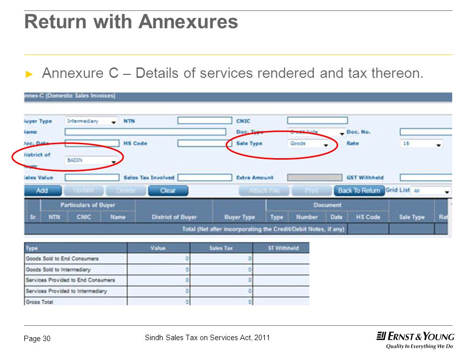 Return with Annexures Annexure C – Details of services rendered and tax thereon.
