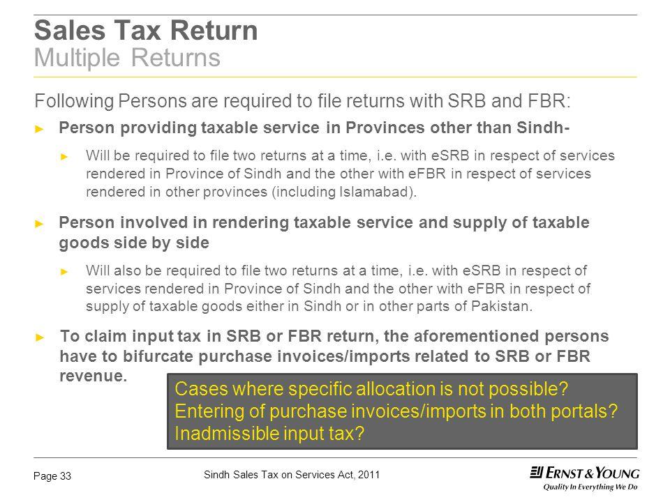 Sales Tax Return Multiple Returns