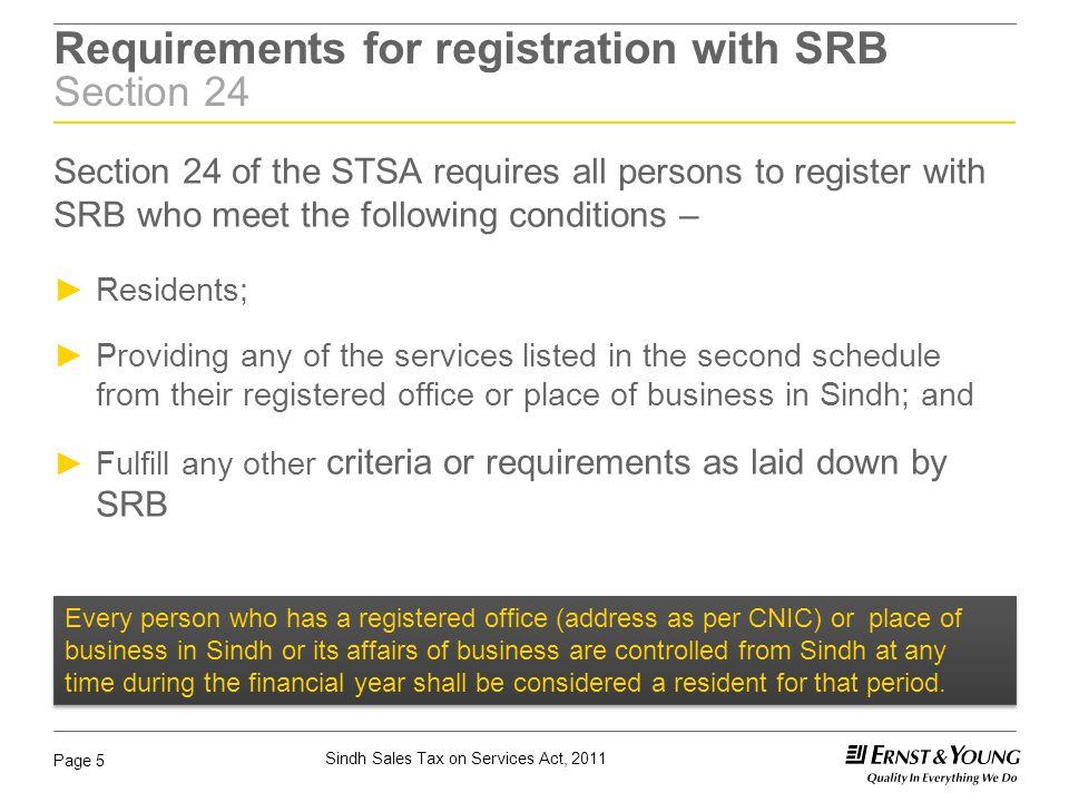 Requirements for registration with SRB Section 24