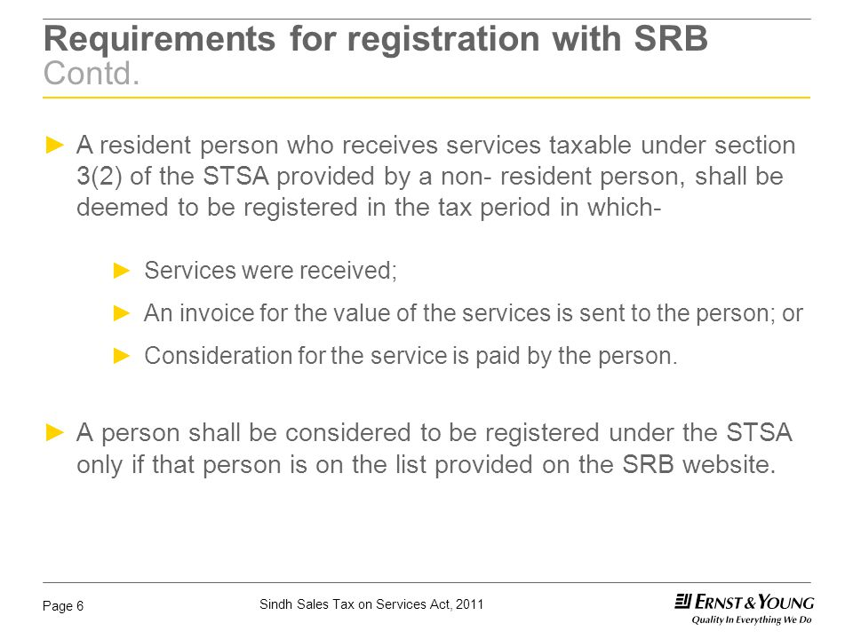 Requirements for registration with SRB Contd.