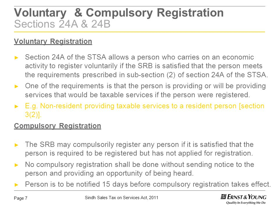 Voluntary & Compulsory Registration Sections 24A & 24B