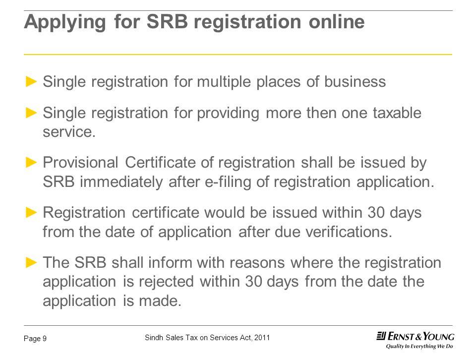 Applying for SRB registration online