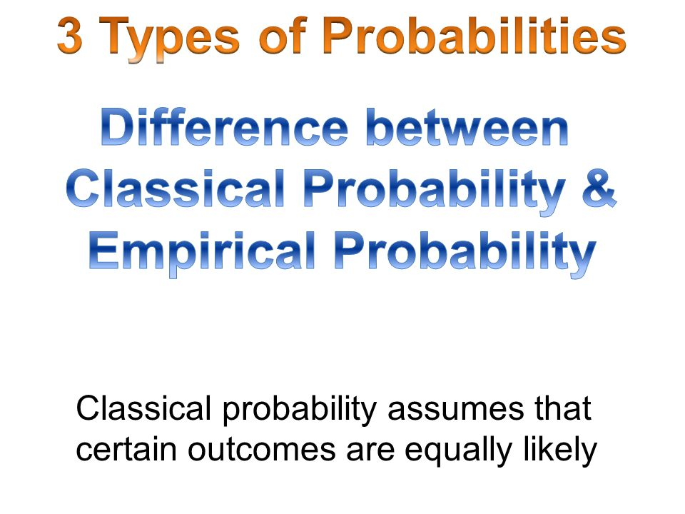 3 Types of Probabilities Classical Probability & Empirical Probability