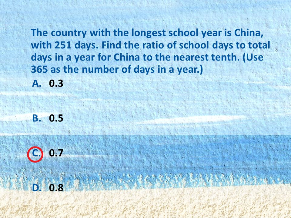 The country with the longest school year is China, with 251 days