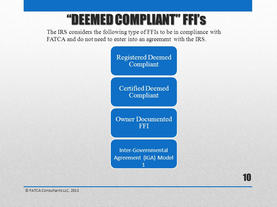 DEEMED COMPLIANT FFI's