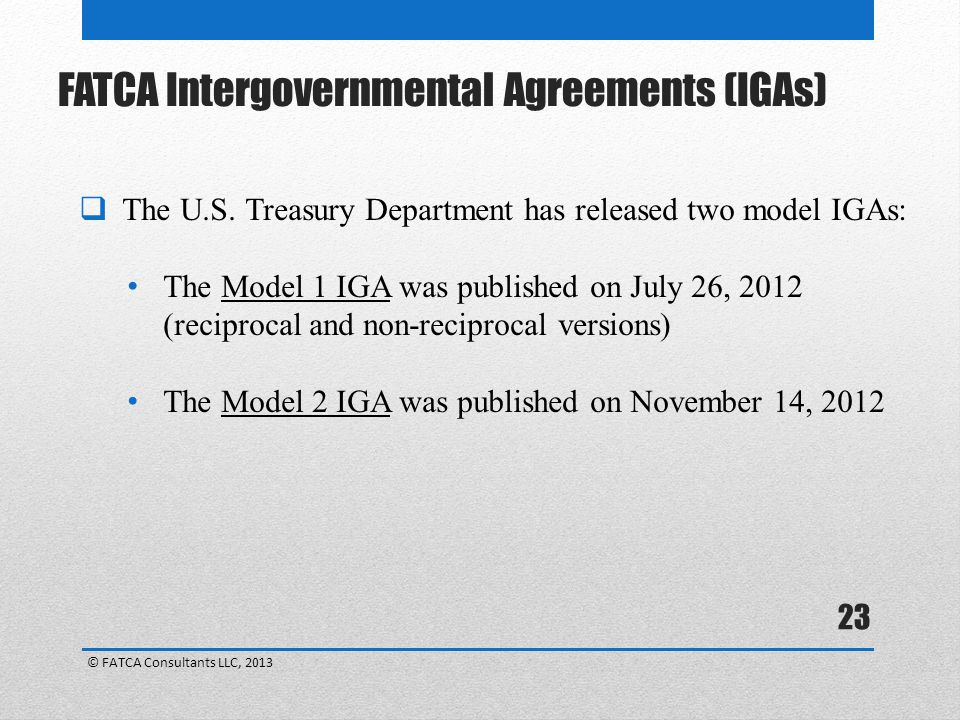 FATCA Intergovernmental Agreements (IGAs)