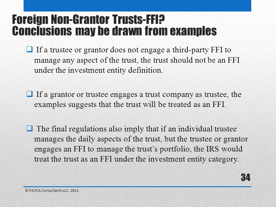 Foreign Non-Grantor Trusts-FFI Conclusions may be drawn from examples
