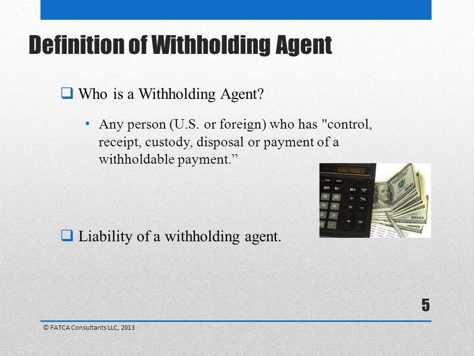 Definition of Withholding Agent