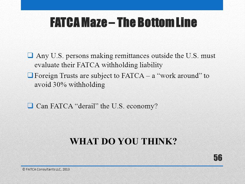 FATCA Maze – The Bottom Line