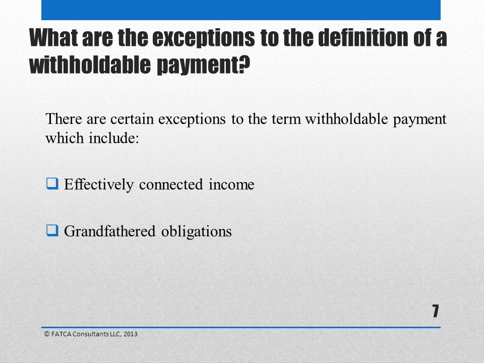 What are the exceptions to the definition of a withholdable payment