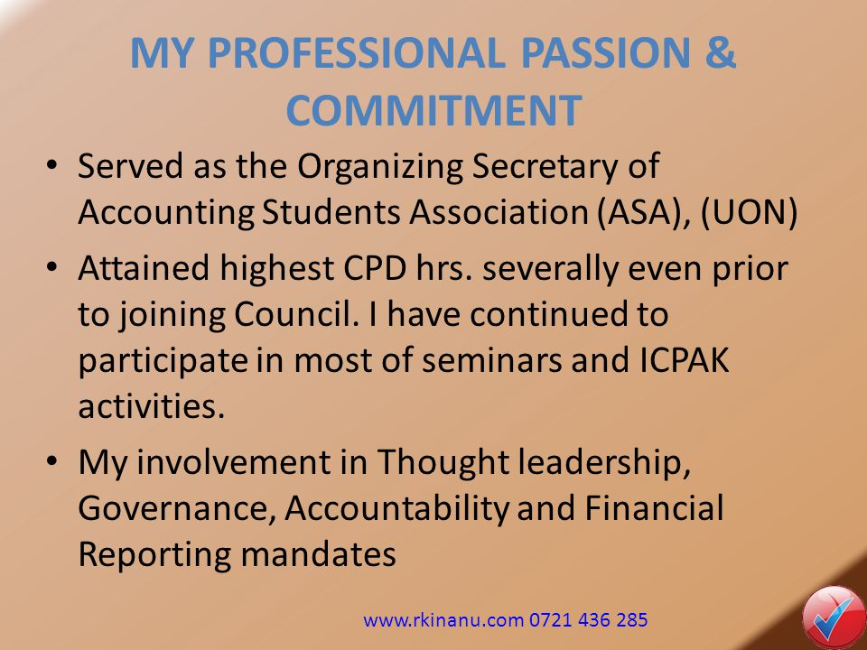 MY PROFESSIONAL PASSION & COMMITMENT