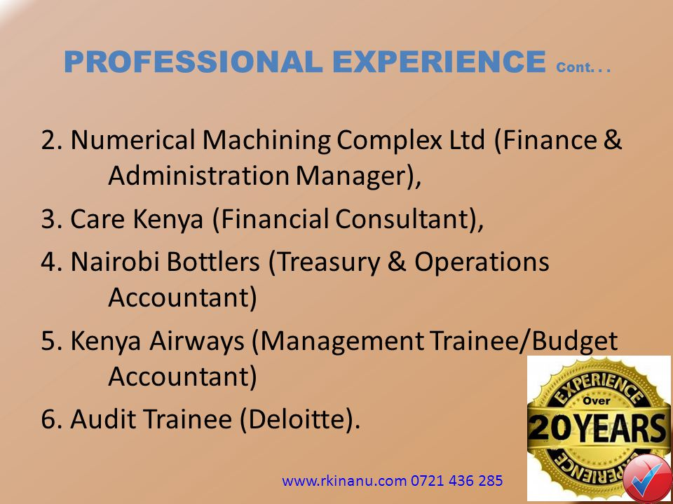 PROFESSIONAL EXPERIENCE Cont. . .