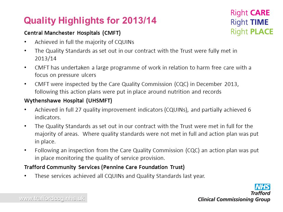 Quality Highlights for 2013/14